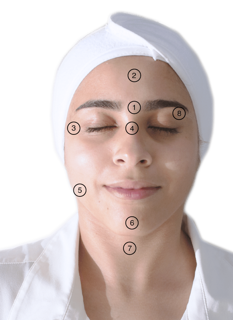 Image of female face areas where botox can be injected